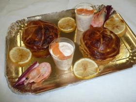 Croustades d'escargot, mousselines de saumon, citron confit